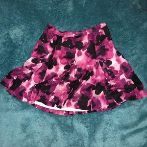 Purple and pink floral abstract print skirt LOFT